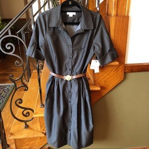 Liz Claiborne NWT 14 Black Denim Shirt Dress